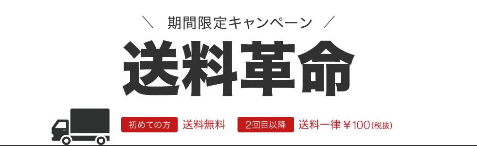 期間限定キャンペーン送料革命初めての方送料無料2回目以降送料一律¥100(税抜)
