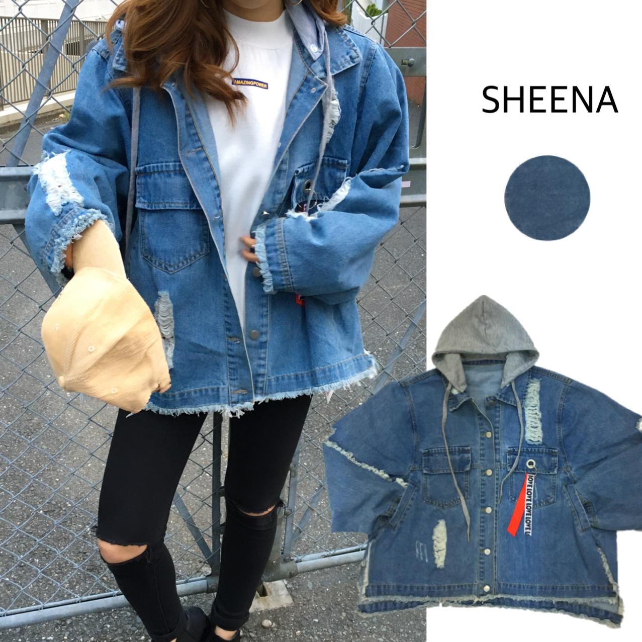 SHEENA (シーナ) | 裏毛フード付 ダメージ デニムルーズジャケット 【 春 夏